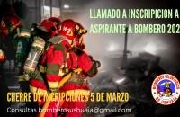 LLAMADO A  INSCRIPCIÓN  ASPIRANTES A BOMBEROS 2021