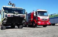 Entrenamientos con Bomberos del Aeropuerto Internacional Malvinas Argentina de la ciudad de Ushuaia